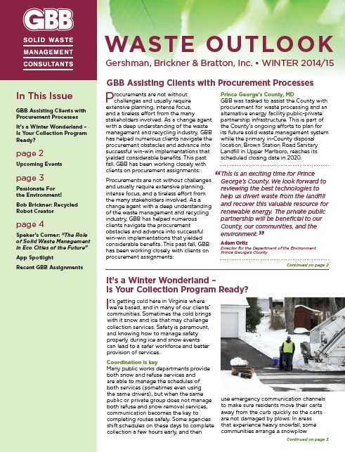 GBB Waste Outlook Newsletter - Winter 2015