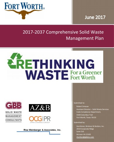 City of Fort Worth, TX - Comprehensive Solid Waste Management Plan