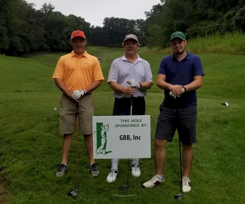 Pictured here are the golfing partners of GBB Senior Vice President Chris Lund at the hole sponsored by GBB: Josh Byerly (Henrico County Department of Public Works, VA), Ken Bannister (Draper Aden Associates), and Andrew Copley (Geosyntec Consultants).
