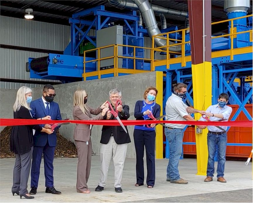 Ribbon cutting ceremony signaling the opening of the organics waste processing facility on September 16, 2020.