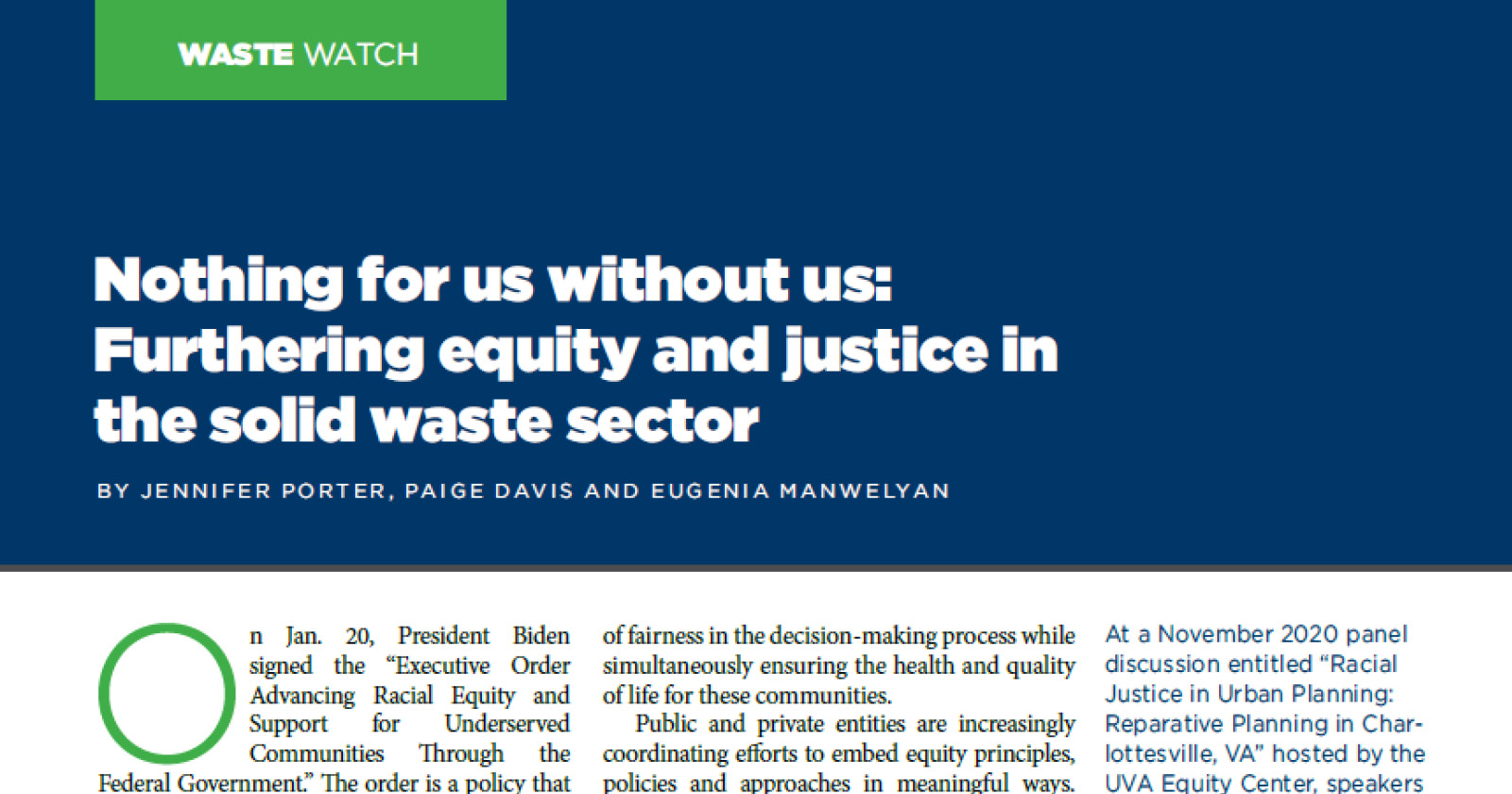 Furthering Equity and Justice in the Solid Waste Sector