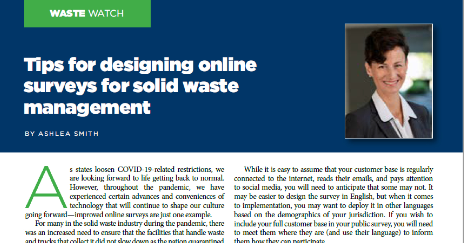 Online Surveys Tips for the Solid Waste Industry